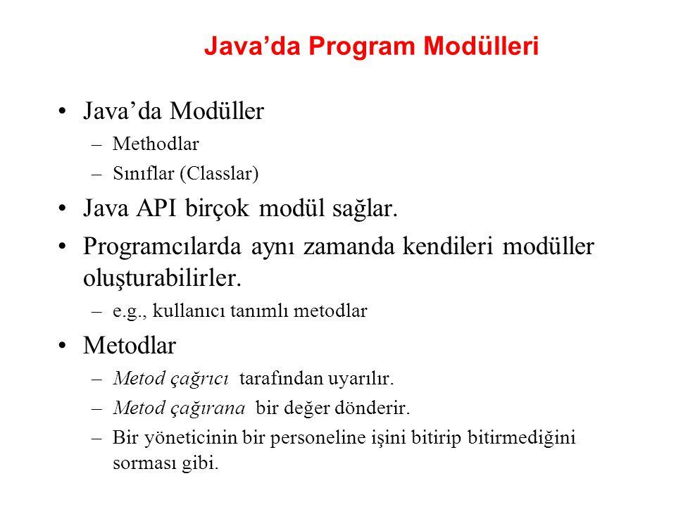 Java'da Program Modülleri Java'da Modüller –Methodlar –Sınıflar (Classlar) Java API birçok modül sağlar. Programcılarda aynı zamanda kendileri modülle
