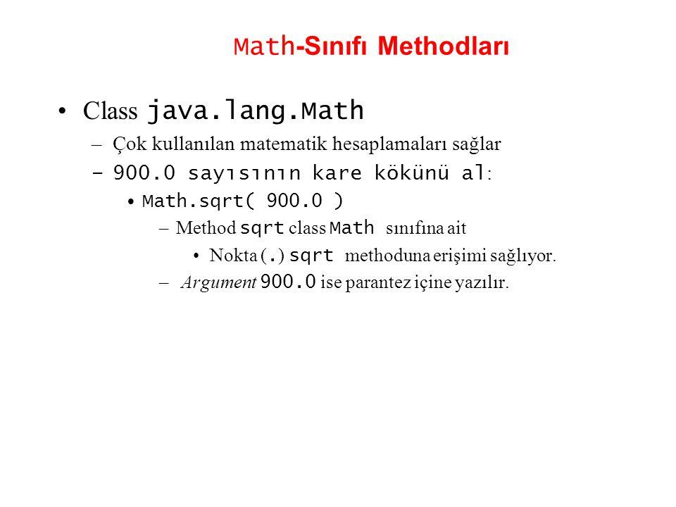 Math -Sınıfı Methodları Class java.lang.Math –Çok kullanılan matematik hesaplamaları sağlar –900.0 sayısının kare kökünü al : Math.sqrt( 900.0 ) –Meth