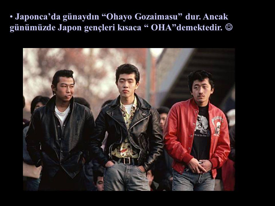 """Japonca'da günaydın """"Ohayo Gozaimasu"""" dur. Ancak günümüzde Japon gençleri kısaca """" OHA""""demektedir."""