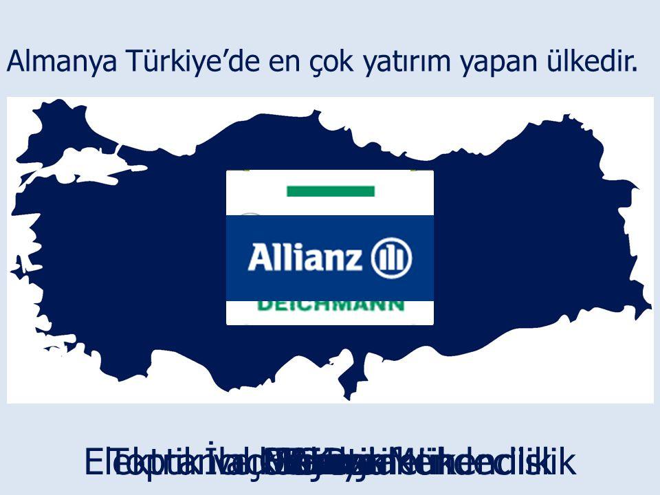 Almanya Türkiye'de en çok yatırım yapan ülkedir. OtomotifLojistikGıdaKimyaİlaç & KozmetikToptancılık & PerakendecilikEnerjiElektrik ve Makine Mühendis