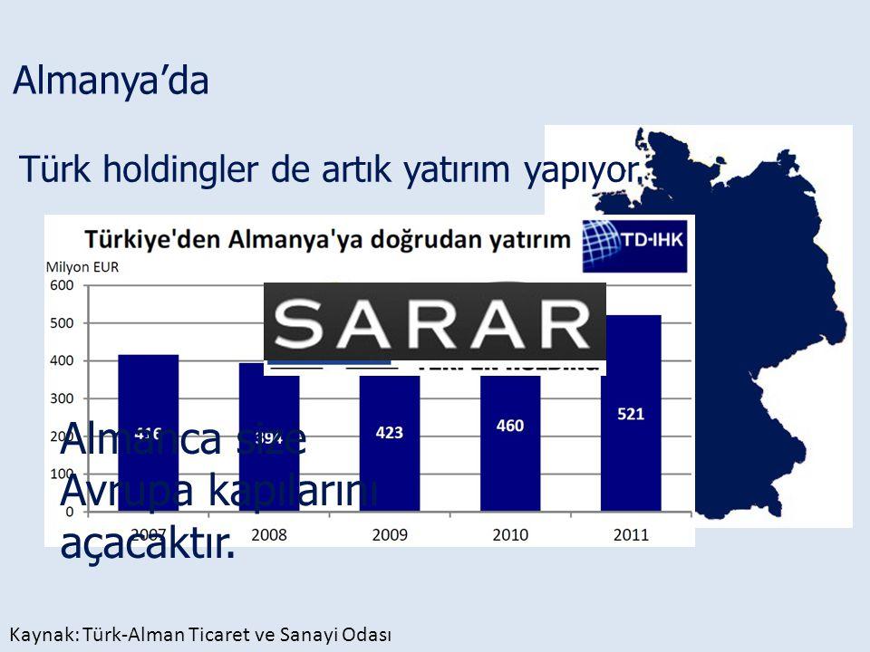 Almanya'da Türk holdingler de artık yatırım yapıyor. Kaynak: Türk-Alman Ticaret ve Sanayi Odası Almanca size Avrupa kapılarını açacaktır.