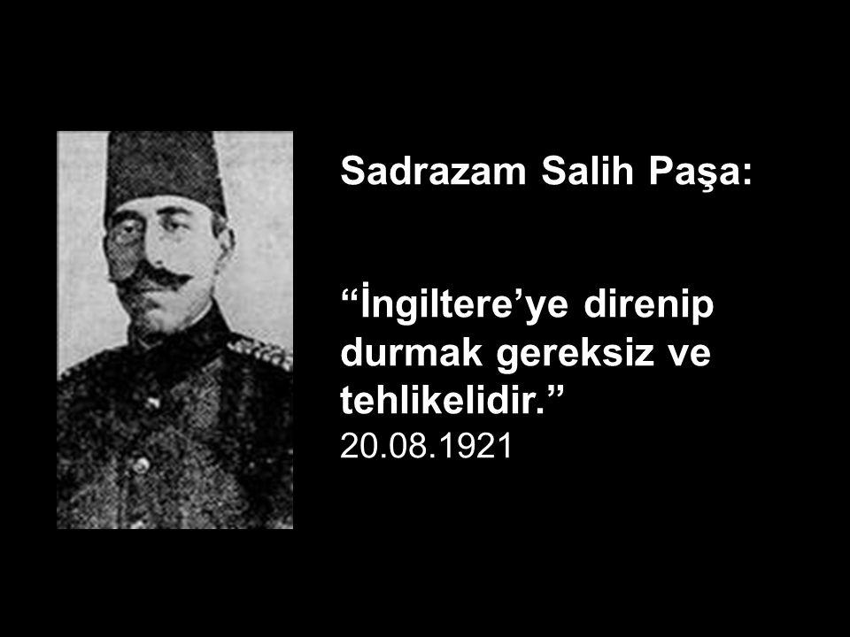 Sadrazam Tevfik Paşa: Tevfik Paşa İngiltere ile gizli bir anlaşmaya varılarak Osmanlı Devleti'nin İngiltere'ye bağlılığının sağlanmasını istedi. Yüksek Komiser Amiral Calt Horpe'un raporundan.