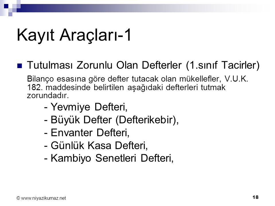 18 © www.niyazikurnaz.net Kayıt Araçları-1 Tutulması Zorunlu Olan Defterler (1.sınıf Tacirler) Bilanço esasına göre defter tutacak olan mükellefler, V