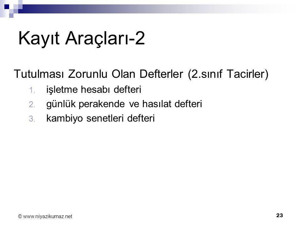 23 © www.niyazikurnaz.net Kayıt Araçları-2 Tutulması Zorunlu Olan Defterler (2.sınıf Tacirler) 1. işletme hesabı defteri 2. günlük perakende ve hasıla