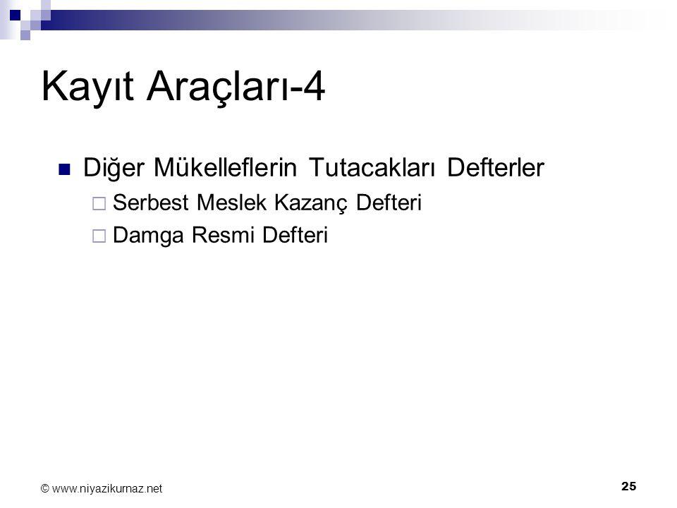 25 © www.niyazikurnaz.net Kayıt Araçları-4 Diğer Mükelleflerin Tutacakları Defterler  Serbest Meslek Kazanç Defteri  Damga Resmi Defteri