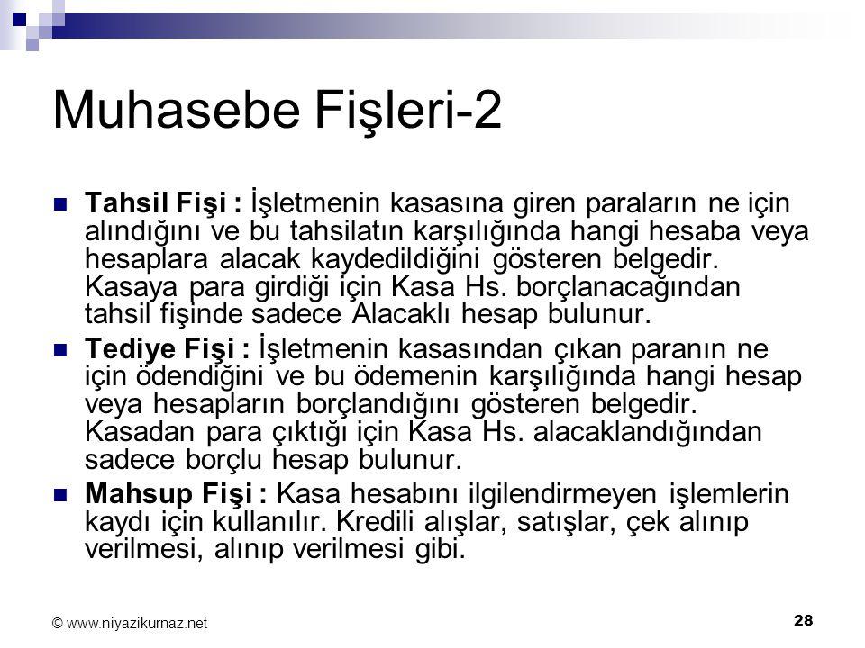28 © www.niyazikurnaz.net Muhasebe Fişleri-2 Tahsil Fişi : İşletmenin kasasına giren paraların ne için alındığını ve bu tahsilatın karşılığında hangi
