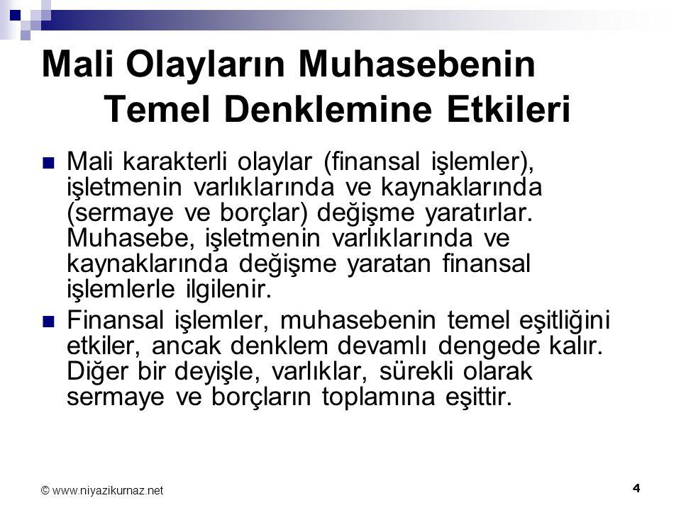 5 © www.niyazikurnaz.net Mali Olayların Muhasebenin Temel Denklemine Etkileri ÖRNEK 1.