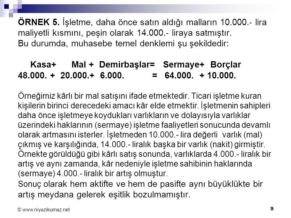 9 © www.niyazikurnaz.net ÖRNEK 5. İşletme, daha önce satın aldığı malların 10.000.- lira maliyetli kısmını, peşin olarak 14.000.- liraya satmıştır. Bu