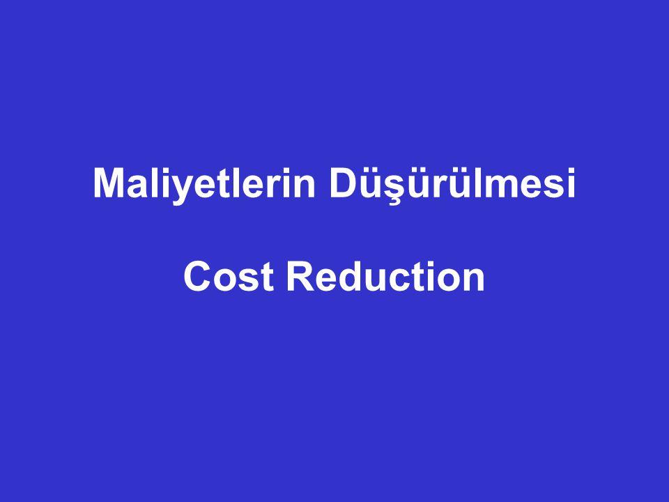Maliyet Düşürme – Cost Reduction (1) 1.