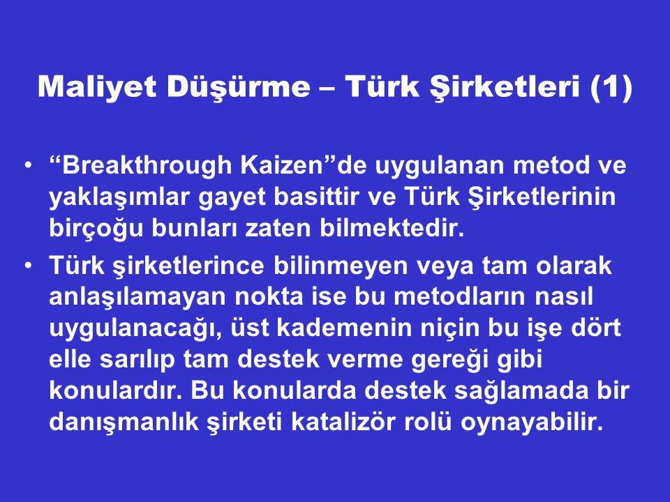 """Maliyet Düşürme – Türk Şirketleri (1) """"Breakthrough Kaizen""""de uygulanan metod ve yaklaşımlar gayet basittir ve Türk Şirketlerinin birçoğu bunları zate"""