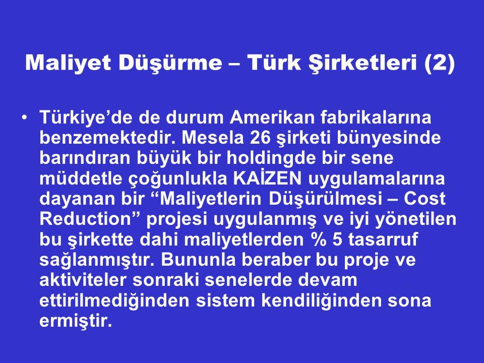 Maliyet Düşürme – Türk Şirketleri (2) Türkiye'de de durum Amerikan fabrikalarına benzemektedir. Mesela 26 şirketi bünyesinde barındıran büyük bir hold