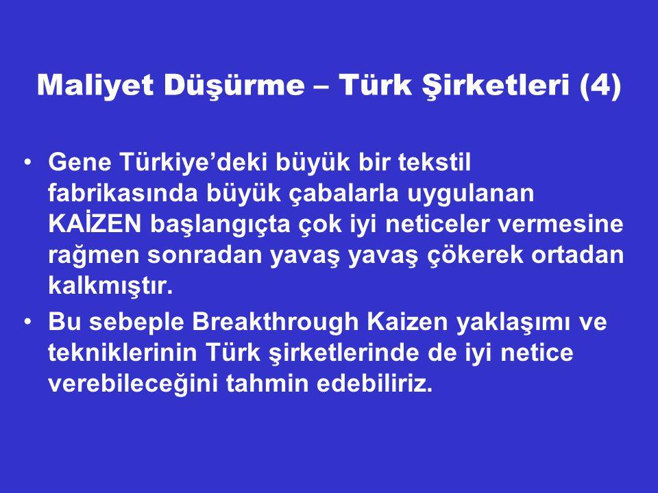 Maliyet Düşürme – Türk Şirketleri (4) Gene Türkiye'deki büyük bir tekstil fabrikasında büyük çabalarla uygulanan KAİZEN başlangıçta çok iyi neticeler