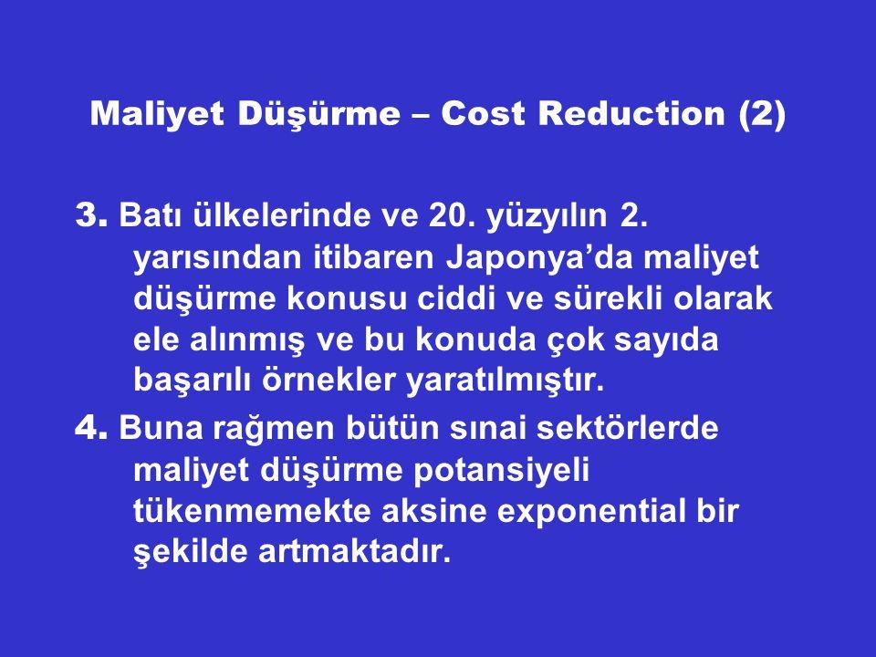 Maliyet Düşürme – Türk Şirketleri (3) Gene aynı şekilde büyük bir elektronik fabrikasında 4 sene müddetle Japon danışmanların da desteğiyle Toplam Prodüktivite Yönetimi – Total Productivity Management denilen bir proje uygulanmış ve yalnızca prodüktivite %100 arttırılarak maliyetlerde %50'ye varan tasarruf sağlanmıştır.