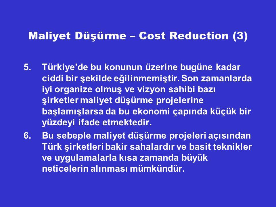 Maliyet Düşürme – Türk Şirketleri (4) Gene Türkiye'deki büyük bir tekstil fabrikasında büyük çabalarla uygulanan KAİZEN başlangıçta çok iyi neticeler vermesine rağmen sonradan yavaş yavaş çökerek ortadan kalkmıştır.