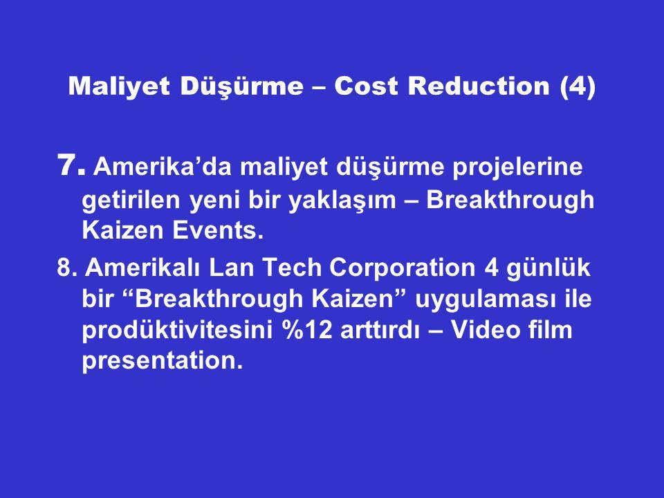 Maliyet Düşürme – Cost Reduction (5) 9.Krizden evvel Türk Sanayiini çöküşe götüren iki faktör : Aşırı değerlenmiş Türk Lirası – düşük kur – ve dünya fiyatlarının çok üstündeki üretim girdi maliyetleri, Şimdiki durumda ise dünyadaki finansal krizin Türkiye'nin reel ekonomisine yansıması ve durgunluk – resesyon – belirtileri.