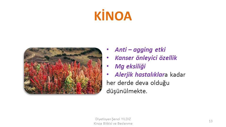 KİNOA Anti – agging etki Kanser önleyici özellik Mg eksiliği Alerjik hastalıklara kadar her derde deva olduğu düşünülmekte. Diyetisyen Şenol YILDIZ Ki