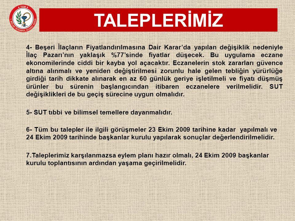 TALEPLERİMİZ 6- Tüm bu talepler ile ilgili görüşmeler 23 Ekim 2009 tarihine kadar yapılmalı ve 24 Ekim 2009 tarihinde başkanlar kurulu yapılarak sonuç
