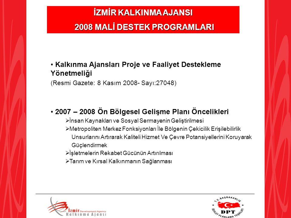 İZMİR KALKINMA AJANSI 2008 MALİ DESTEK PROGRAMLARI 2008 MALİ DESTEK PROGRAMLARI Kalkınma Ajansları Proje ve Faaliyet Destekleme Yönetmeliği (Resmi Gaz