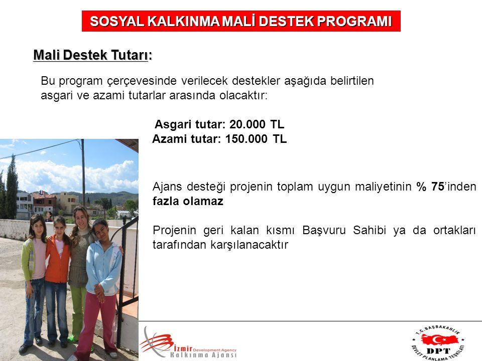SOSYAL KALKINMA MALİ DESTEK PROGRAMI Mali Destek Tutarı: Bu program çerçevesinde verilecek destekler aşağıda belirtilen asgari ve azami tutarlar arası