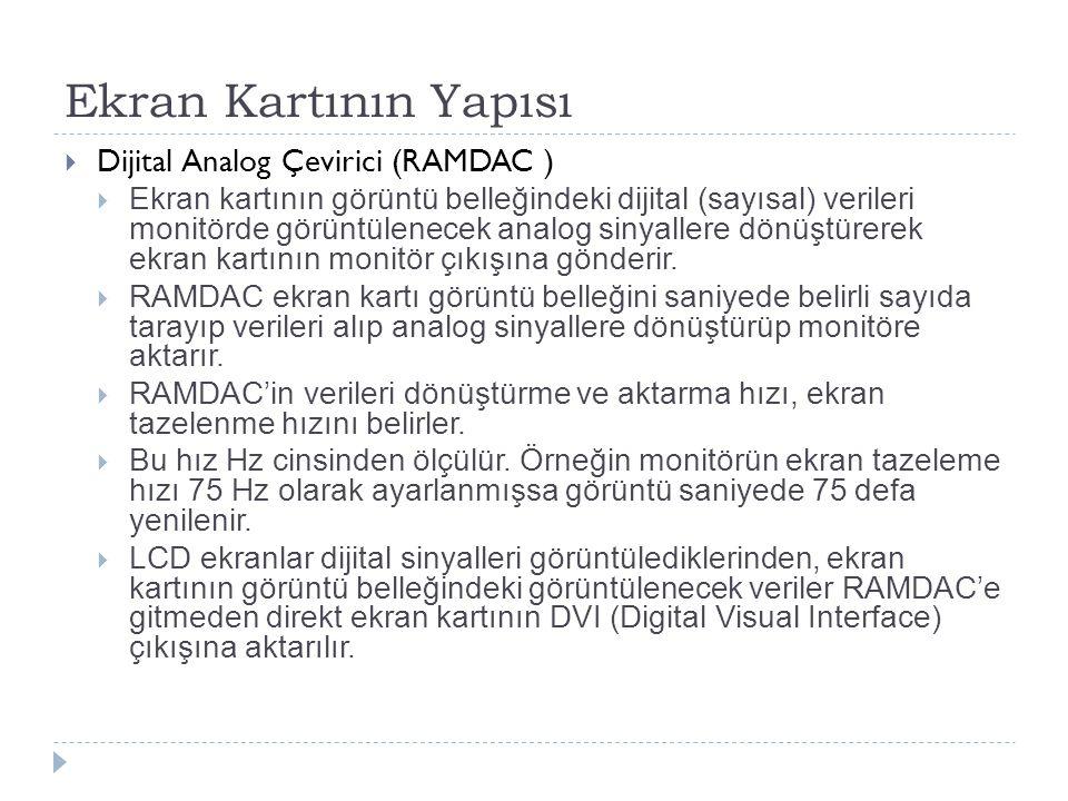 Ekran Kartının Yapısı  Dijital Analog Çevirici (RAMDAC )  Ekran kartının görüntü belleğindeki dijital (sayısal) verileri monitörde görüntülenecek an