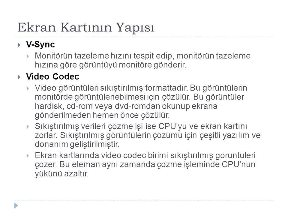 Ekran Kartının Yapısı  V-Sync  Monitörün tazeleme hızını tespit edip, monitörün tazeleme hızına göre görüntüyü monitöre gönderir.  Video Codec  Vi