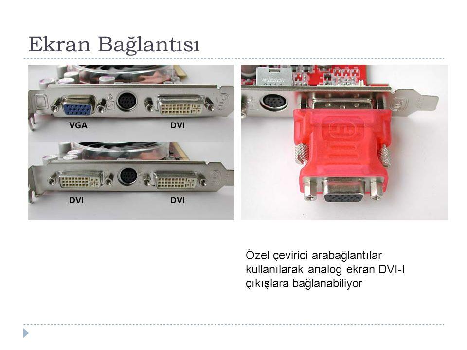 Ekran Bağlantısı Özel çevirici arabağlantılar kullanılarak analog ekran DVI-I çıkışlara bağlanabiliyor