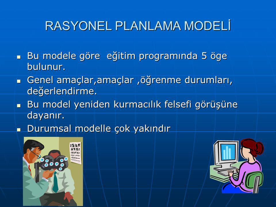RASYONEL PLANLAMA MODELİ Bu modele göre eğitim programında 5 öge bulunur. Bu modele göre eğitim programında 5 öge bulunur. Genel amaçlar,amaçlar,öğren