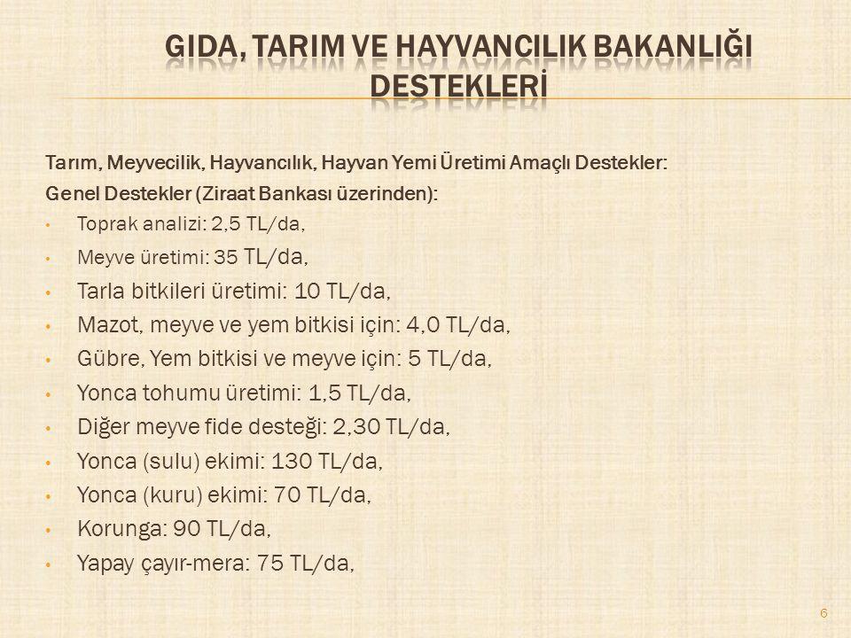 7 Tarım, Meyvecilik, Hayvancılık, Hayvan Yemi Üretimi Amaçlı Destekler: Yem Üretimi ve Hayvan Koruma İçin (Ziraat Bankası üzerinden): Silajlık mısır (sulu): 55 TL/da, Silajlık mısır (kuru): 30 TL/da, Süt primi (küçükbaş): 015 TL/adet, Hastalıktan ari işletme: 300 TL, Hastalıktan ari (Keçi-Koyun): 18 TL/adet, Tiftik üretimi (Oğlak tiftiği): 17 TL/Kg.
