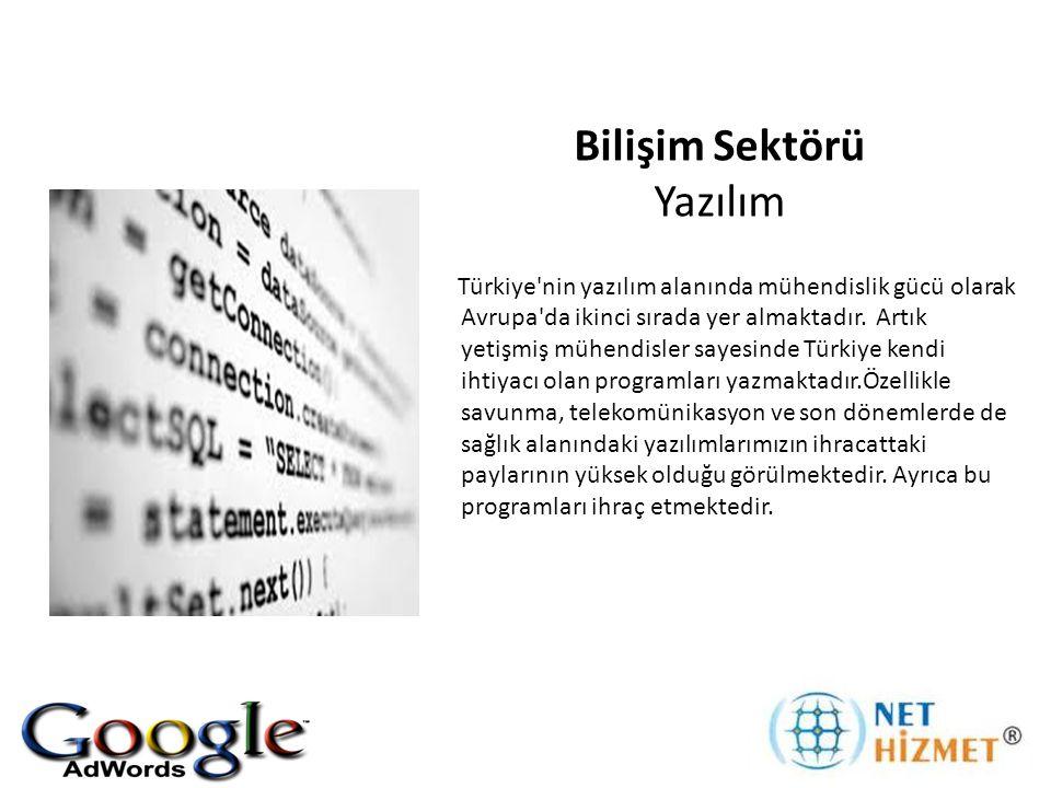 Bilişim Sektörü Yazılım Türkiye nin yazılım alanında mühendislik gücü olarak Avrupa da ikinci sırada yer almaktadır.