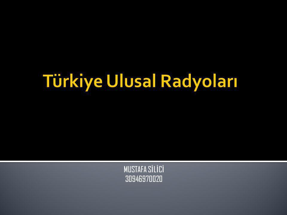  Türkiye'de Ulusal Düzeyde Yayın Yapan Radyolar  Ulusal Radyoların Yayın İçerikleri  Ulusal Radyoların Gelir Kaynakları  Ulusal Radyoların Dinlenme Oranları  Ulusal Radyoların İstasyon Konumları