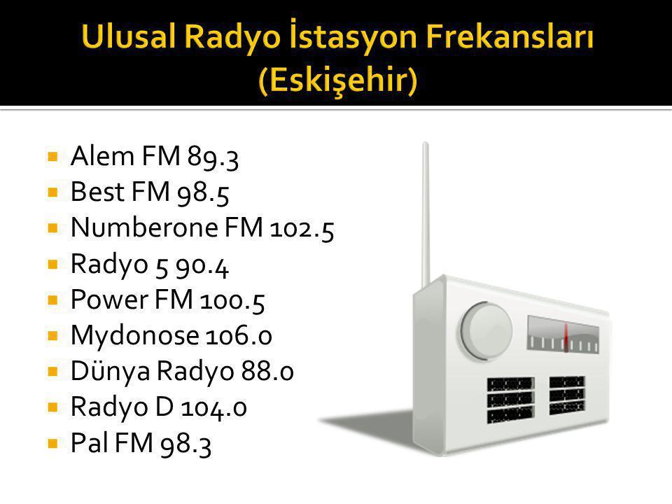  Alem FM 89.3  Best FM 98.5  Numberone FM 102.5  Radyo 5 90.4  Power FM 100.5  Mydonose 106.0  Dünya Radyo 88.0  Radyo D 104.0  Pal FM 98.3