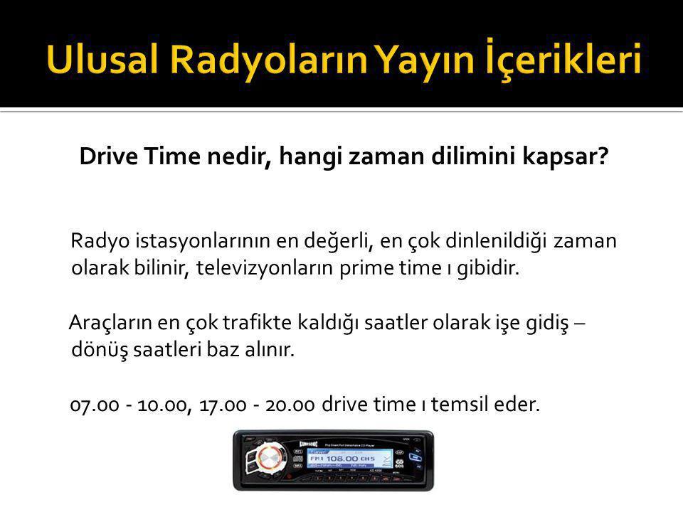 Drive Time nedir, hangi zaman dilimini kapsar? Radyo istasyonlarının en değerli, en çok dinlenildiği zaman olarak bilinir, televizyonların prime time