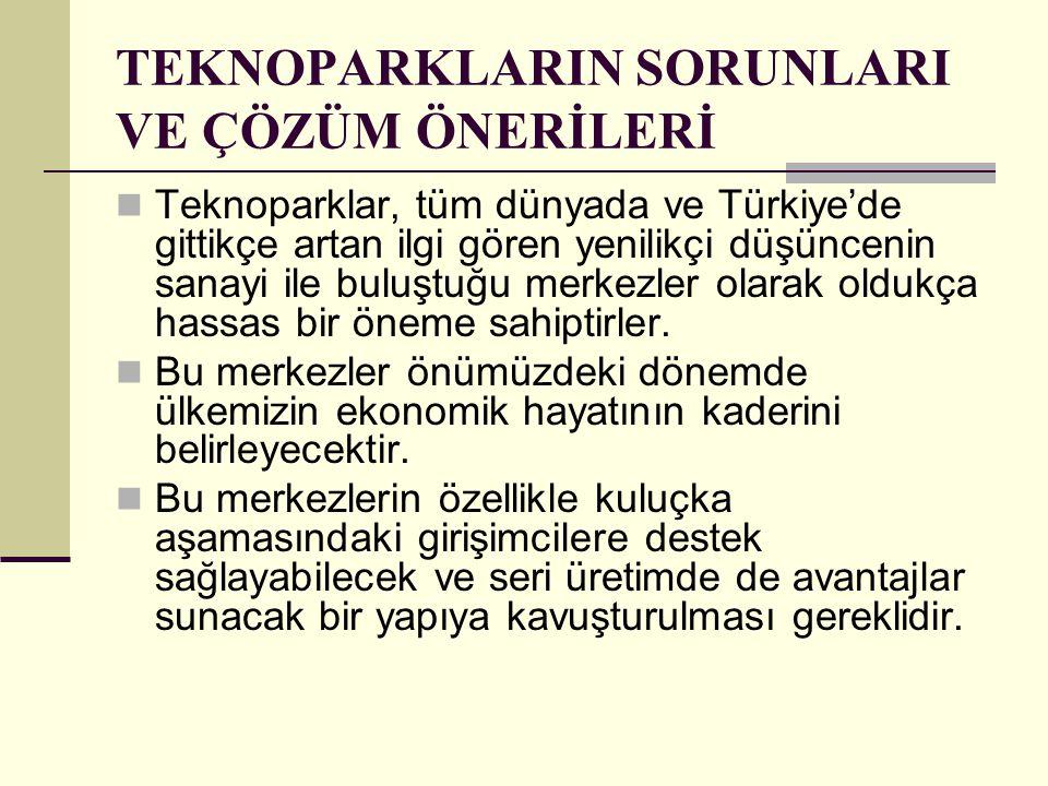 TEKNOPARKLARIN SORUNLARI VE ÇÖZÜM ÖNERİLERİ Teknoparklar, tüm dünyada ve Türkiye'de gittikçe artan ilgi gören yenilikçi düşüncenin sanayi ile buluştuğ