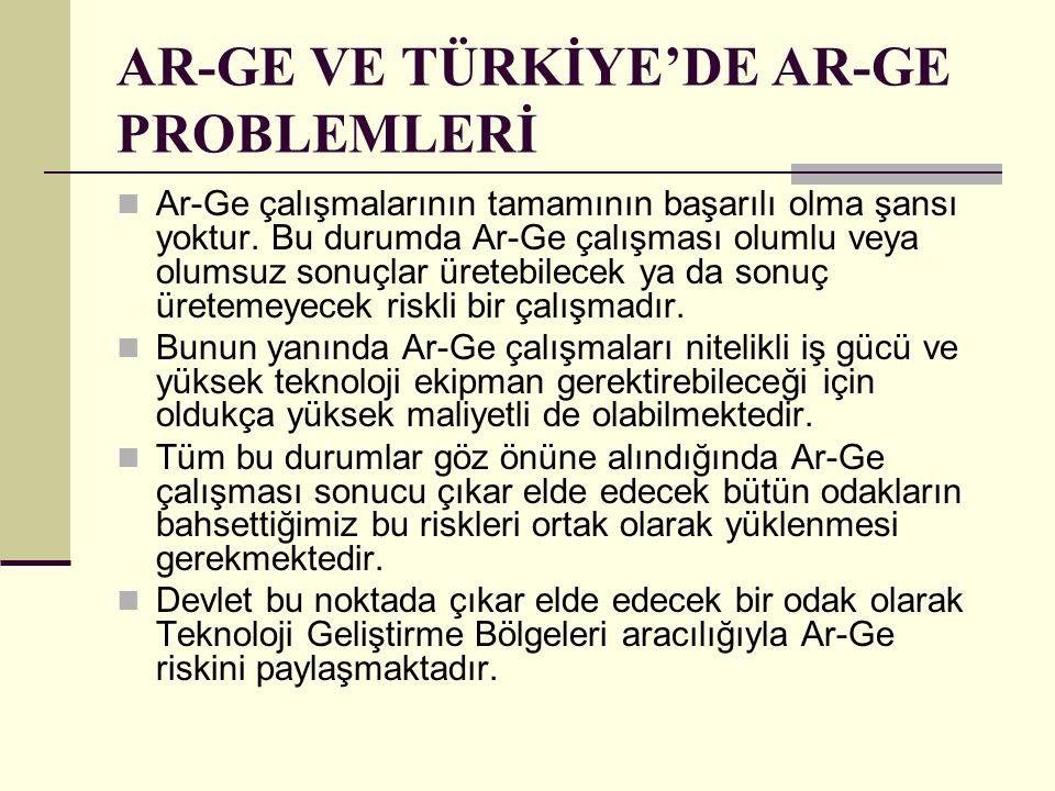 AR-GE VE TÜRKİYE'DE AR-GE PROBLEMLERİ Ar-Ge çalışmalarının tamamının başarılı olma şansı yoktur. Bu durumda Ar-Ge çalışması olumlu veya olumsuz sonuçl