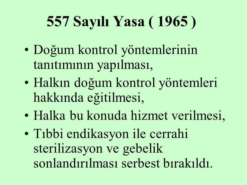557 Sayılı Yasa ( 1965 ) Doğum kontrol yöntemlerinin tanıtımının yapılması, Halkın doğum kontrol yöntemleri hakkında eğitilmesi, Halka bu konuda hizme