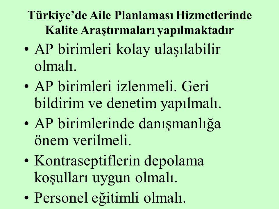Türkiye'de Aile Planlaması Hizmetlerinde Kalite Araştırmaları yapılmaktadır AP birimleri kolay ulaşılabilir olmalı. AP birimleri izlenmeli. Geri bildi