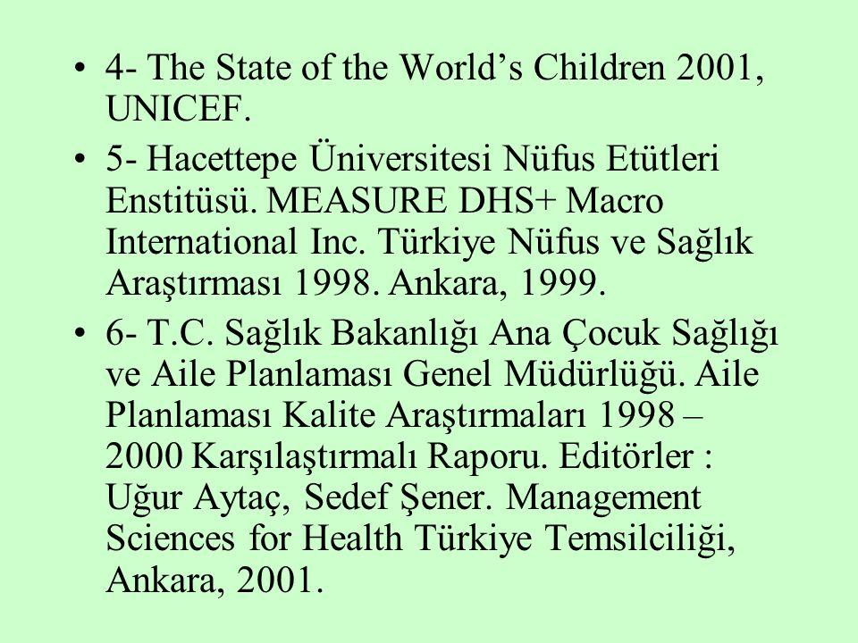 4- The State of the World's Children 2001, UNICEF. 5- Hacettepe Üniversitesi Nüfus Etütleri Enstitüsü. MEASURE DHS+ Macro International Inc. Türkiye N