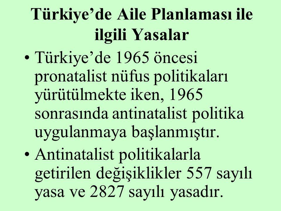 Türkiye'de Aile Planlaması ile ilgili Yasalar Türkiye'de 1965 öncesi pronatalist nüfus politikaları yürütülmekte iken, 1965 sonrasında antinatalist po
