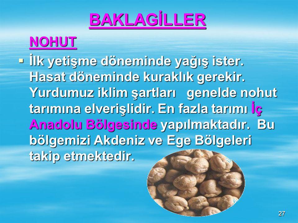 26 ÇAVDAR  Serin yayla iklimi ister. Yem sanayisinde kullanılır. En fazla tarımı İç Anadolu Bölgesinde gelişmiştir.