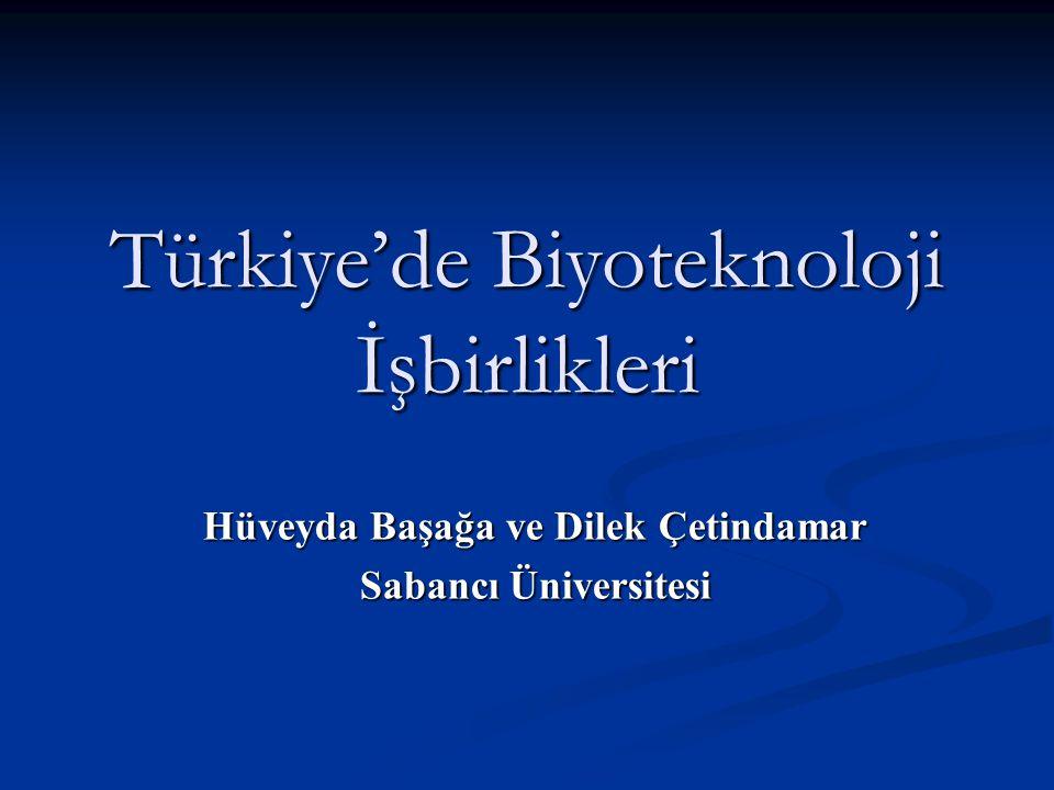Türkiye'de Biyoteknoloji İşbirlikleri Hüveyda Başağa ve Dilek Çetindamar Sabancı Üniversitesi