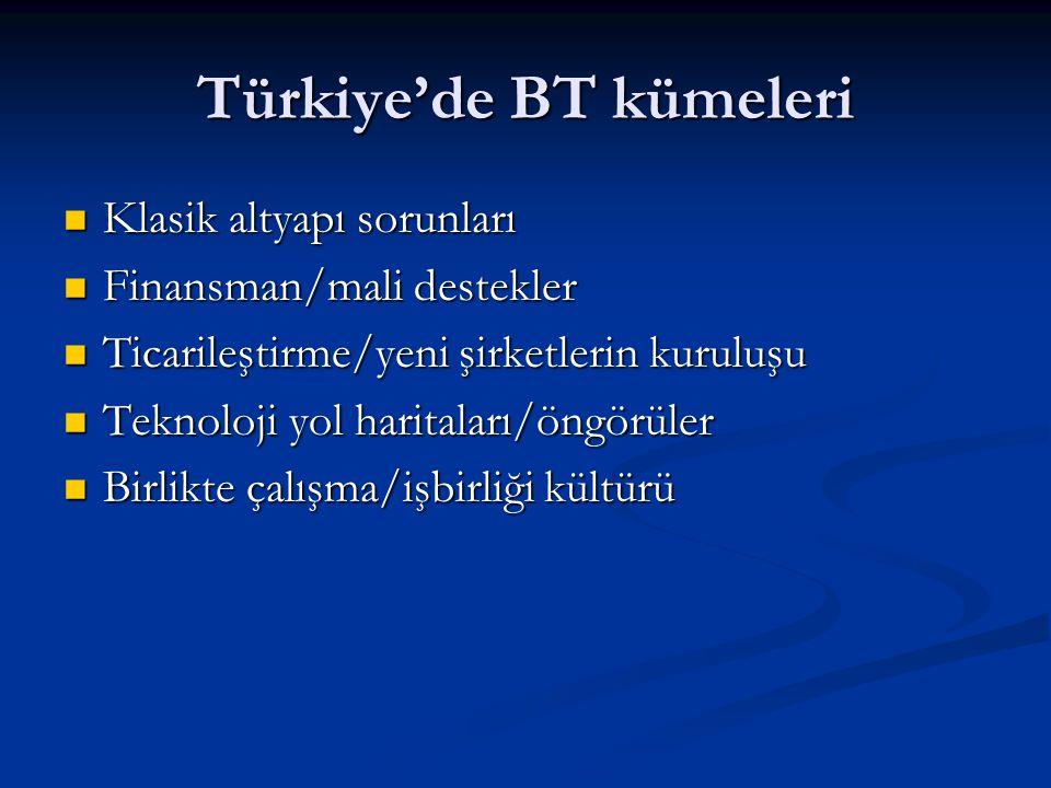 Türkiye'de BT kümeleri Klasik altyapı sorunları Klasik altyapı sorunları Finansman/mali destekler Finansman/mali destekler Ticarileştirme/yeni şirketlerin kuruluşu Ticarileştirme/yeni şirketlerin kuruluşu Teknoloji yol haritaları/öngörüler Teknoloji yol haritaları/öngörüler Birlikte çalışma/işbirliği kültürü Birlikte çalışma/işbirliği kültürü
