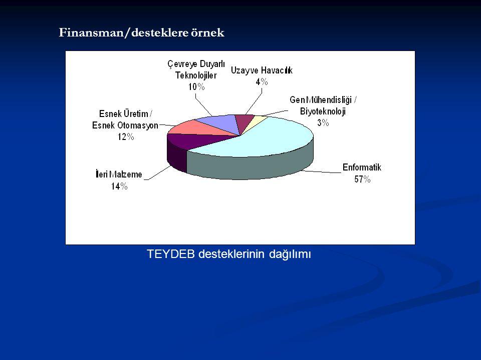 TEYDEB desteklerinin dağılımı Finansman/desteklere örnek