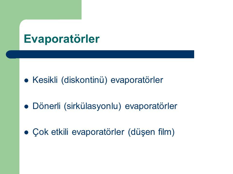 Evaporatörler Kesikli (diskontinü) evaporatörler Dönerli (sirkülasyonlu) evaporatörler Çok etkili evaporatörler (düşen film)