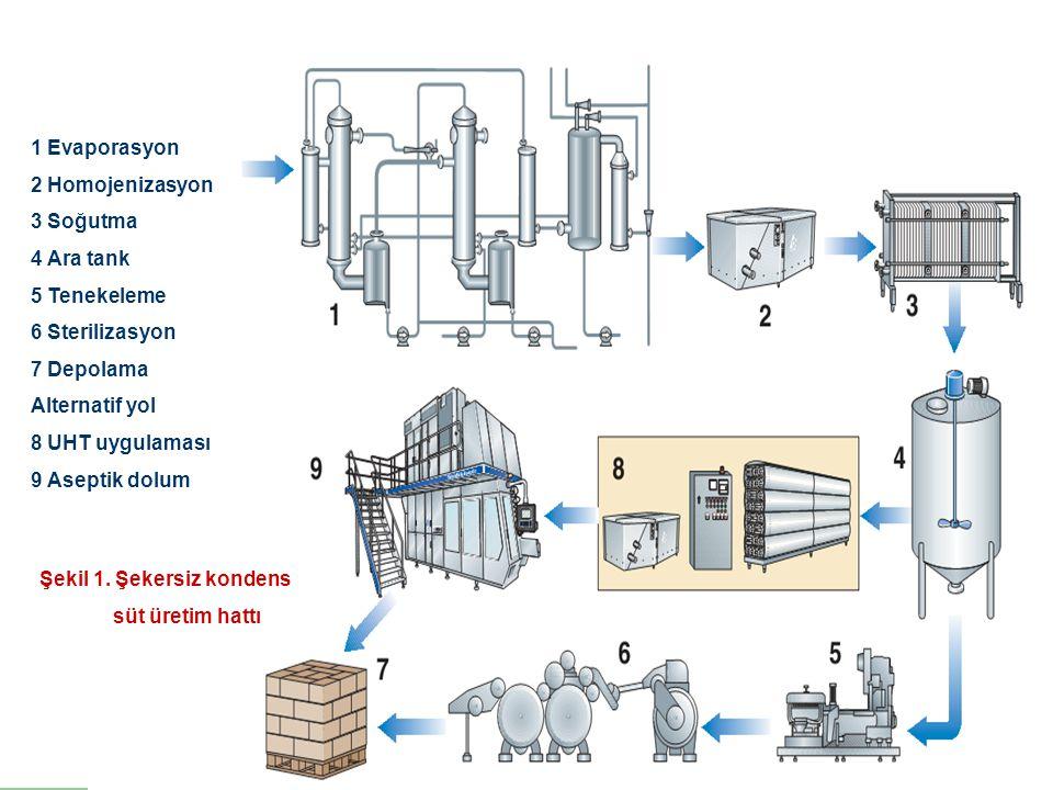 1 Evaporasyon 2 Homojenizasyon 3 Soğutma 4 Ara tank 5 Tenekeleme 6 Sterilizasyon 7 Depolama Alternatif yol 8 UHT uygulaması 9 Aseptik dolum Şekil 1. Ş