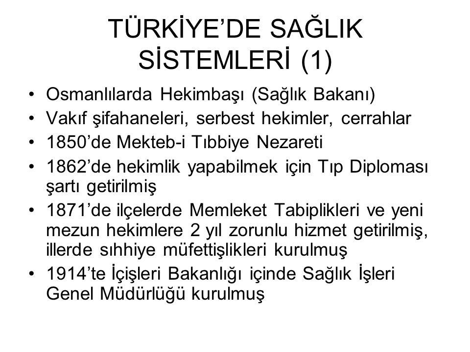 TÜRKİYE'DE SAĞLIK SİSTEMLERİ (1) Osmanlılarda Hekimbaşı (Sağlık Bakanı) Vakıf şifahaneleri, serbest hekimler, cerrahlar 1850'de Mekteb-i Tıbbiye Nezareti 1862'de hekimlik yapabilmek için Tıp Diploması şartı getirilmiş 1871'de ilçelerde Memleket Tabiplikleri ve yeni mezun hekimlere 2 yıl zorunlu hizmet getirilmiş, illerde sıhhiye müfettişlikleri kurulmuş 1914'te İçişleri Bakanlığı içinde Sağlık İşleri Genel Müdürlüğü kurulmuş