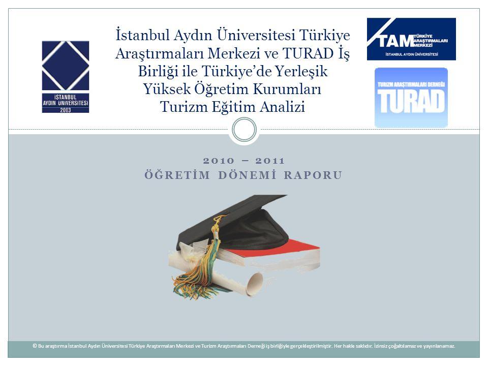 2010 – 2011 ÖĞRETİM DÖNEMİ RAPORU İstanbul Aydın Üniversitesi Türkiye Araştırmaları Merkezi ve TURAD İş Birliği ile Türkiye'de Yerleşik Yüksek Öğretim
