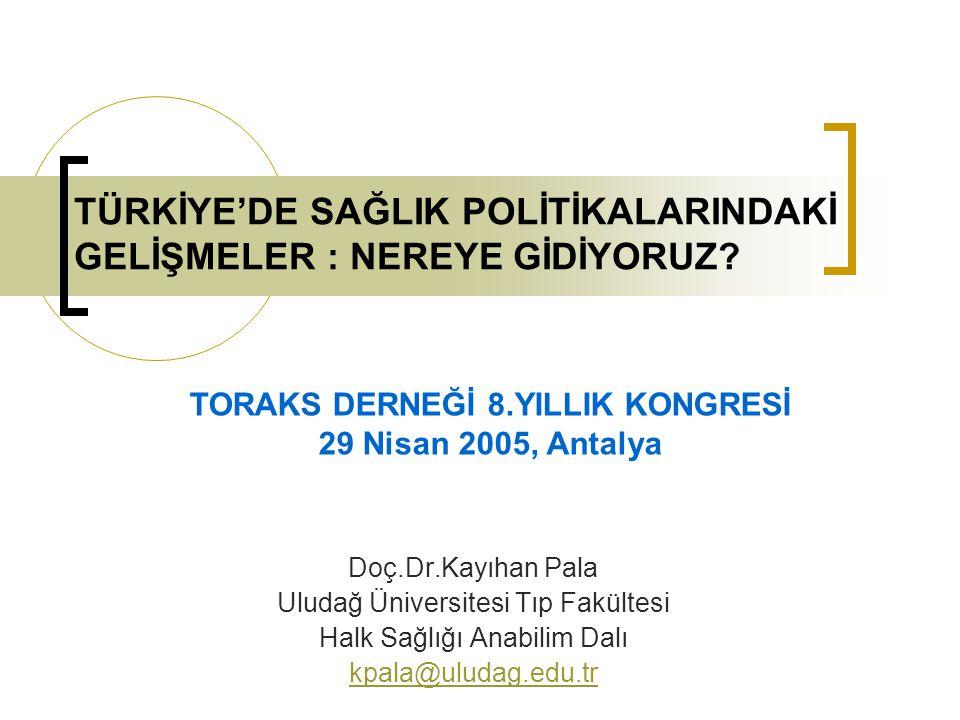 Rapor No.24358-TU Türkiye : Yaygınlığı ve Verimliliği İyileştirmek Amacıyla Sağlık Sektöründe Yapılan Reformlar Haziran 2002 İnsan Geliştirme Sektörü Birimi Avrupa ve Orta Asya Bölgesi Dünya Bankası Dökümanı