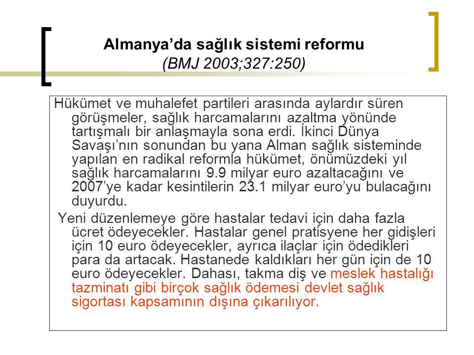 Almanya'da sağlık sistemi reformu (BMJ 2003;327:250) Hükümet ve muhalefet partileri arasında aylardır süren görüşmeler, sağlık harcamalarını azaltma y