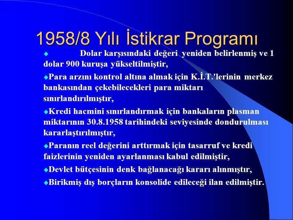 1958/8 Yılı İstikrar Programı  Liranın Dolar karşısındaki değeri yeniden belirlenmiş ve 1 dolar 900 kuruşa yükseltilmiştir,  Para arzını kontrol altına almak için K.İ.T. lerinin merkez bankasından çekebilecekleri para miktarı sınırlandırılmıştır,  Kredi hacmini sınırlandırmak için bankaların plasman miktarının 30.8.1958 tarihindeki seviyesinde dondurulması kararlaştırılmıştır,  Paranın reel değerini arttırmak için tasarruf ve kredi faizlerinin yeniden ayarlanması kabul edilmiştir,  Devlet bütçesinin denk bağlanacağı kararı alınmıştır,  Birikmiş dış borçların konsolide edileceği ilan edilmiştir.