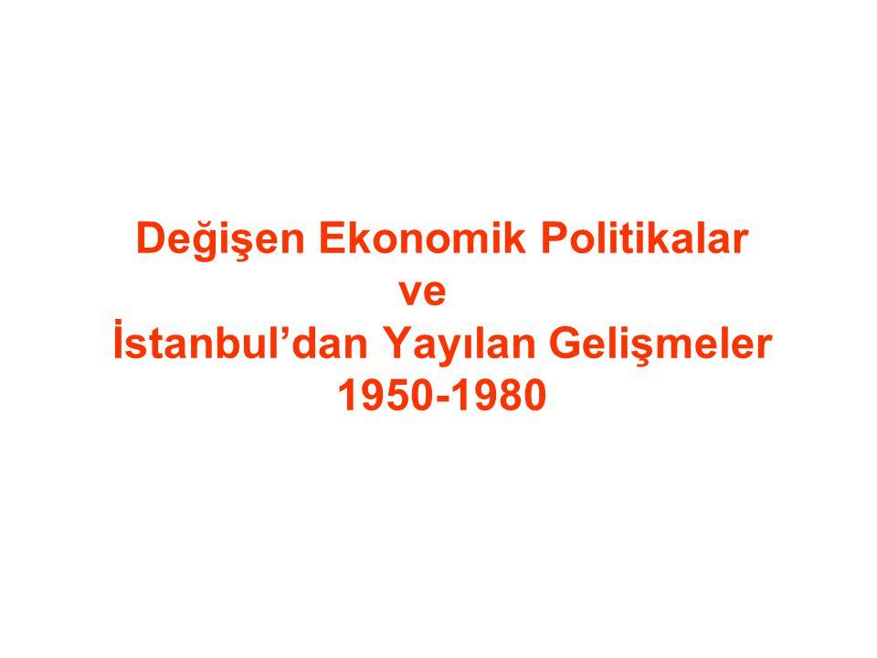 Dünyada ve Türkiye'deki Toplumsal ve Ekonomik Gelişmeler SAVAŞ SONRASI DEĞİŞEN ULUSLAR ARASI İLİŞKİLER Türkiye-ABD ilişkilerinin güçlenmesi Liberal ekonomik politikalar uygulama isteği Tarımda modernizasyon–ulaşım ilişkilerinin güçlenmesi KIRDAN KENTE GÖÇ Konut ve işyeri talebinin kent mekanına yansıması YAP-SAT DÜZENİNDE APARTMANLAŞMA KENT MERKEZLERİNDE SÜZÜLME KENT ÇEPERLERİNDE SANAYİLEŞME ve GECEKONDULAŞMA Toplumsal siyasal ve ekonomik bunalım ve dönemin bitişi 1980 ASKERİ MÜDAHALESİ